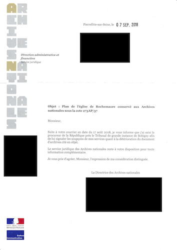 Lettre Archives Nationales